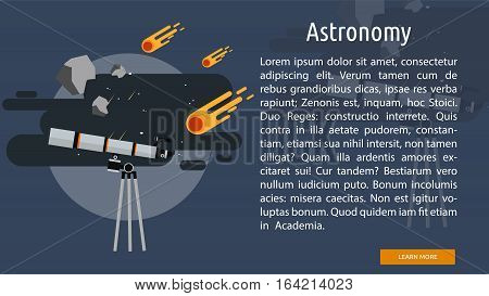 Astronomy Conceptual Banner   Great flat illustration concept icon and use for science, research, technology, physics, chemistry and much more.