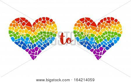 Heart to Heart vector illustration. Mosaic design element for decoration cards, invitations for LGBT community