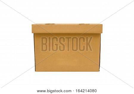Cardboard kraft box isolated. Top close of brown yellow card board box isolated on white.