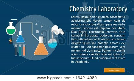 Chemistry Laboratory Conceptual Banner | Great flat illustration concept icon and use for science, research, technology, physics, chemistry and much more.