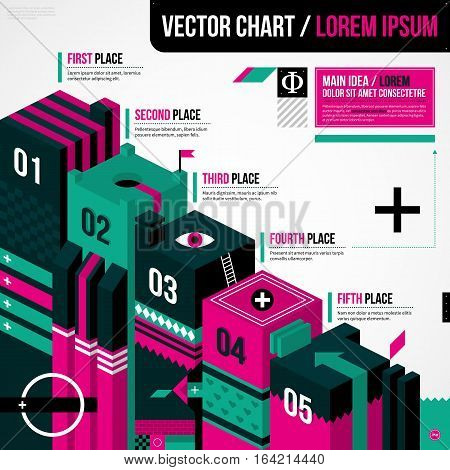 Progression Chart Layout In Weird Geometric Style With Abstract Shapes And Flashy Colors. Eps10 Vect