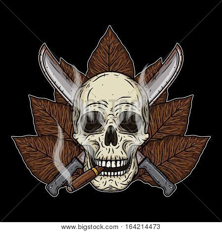 Human skull with a cigar and crossed machetes
