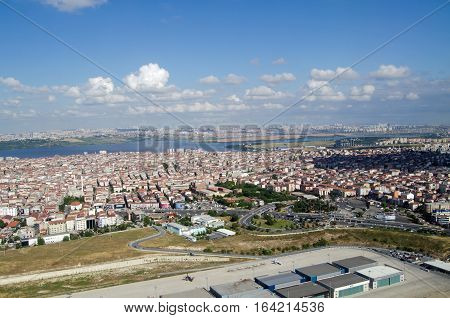 View from a plane above Istanbul looking West towards Lake Küçükçekmece and the Avcilar district of the city. Sunny morning in Summer.