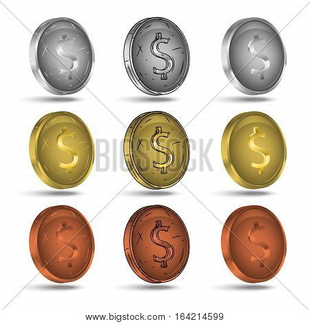 Set of coins. Gold, silver and cooper coins