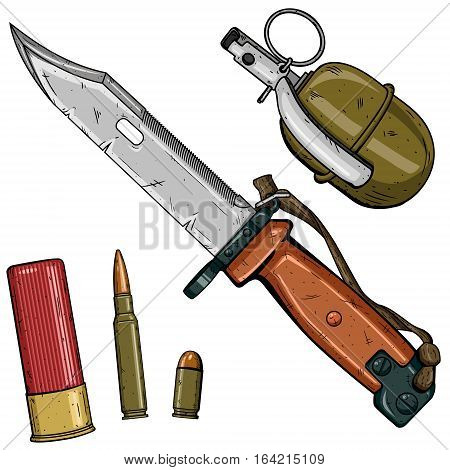 Cartoon weapons set over white background. Russia weapon set