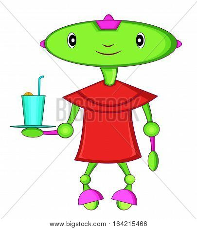 Green Head Robot Waiter Cartoon Cartoon Illustration