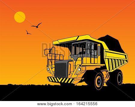 Dump truck hand draw color illustration, vector