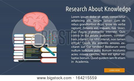 Research About Knowledge Conceptual Banner | Great flat illustration concept icon and use for science, research, technology, physics, chemistry and much more.