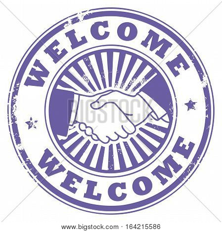 Grunge rubber stamp with Handshake and the word Welcome inside, vector illustration