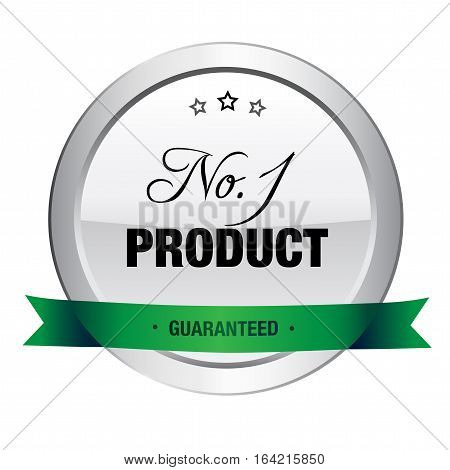 No.1 product seal or icon. Silver seal or button with stars and green banner.
