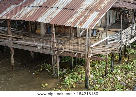 slum river side, Bangkok , Thailand , architecture