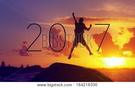 Silhouette businessmanHappy for 2017 new year .