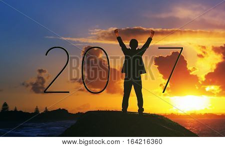 Silhouette businessman Happy for 2017 new year