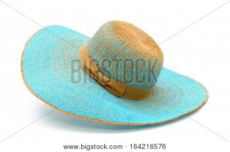 Stilish summer straw hat for women, isolated white background