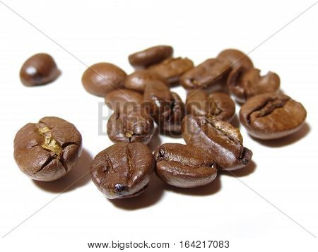 Close-up of Coffee beans isolated on a white background