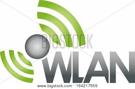 Ball and waves, wireless, network, connection, Wlan and network logo