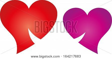 Two hearts with smile, couple and hearts logo