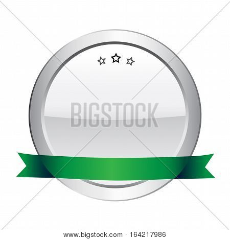 Blank seal or icon with copy space. Silver seal or button with stars and green banner.