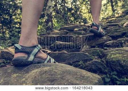 Closeup of female legs wearing sandals ascending forest staircase. Walking in jungle of Lake Phewa, Pokhara in Nepal.