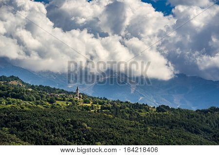 Saint-Sauveur village on mountain hill near Embrun Hautes-Alpes. Southern French Alps France