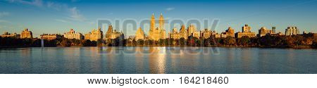 Sunrise on the Upper West Side with view of Jacqueline Kennedy Onassis Reservoir and Central Park in Fall. Manhattan New York City