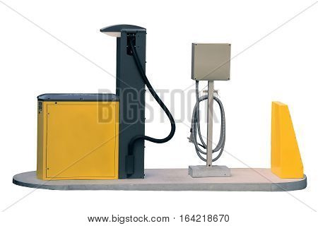 Yellow and black gas station close up on an isolated white background