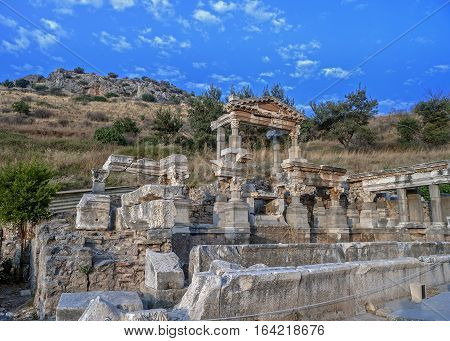Turkey. The ruins of the ancient city of Ephesus founded in the eleventh century BC.