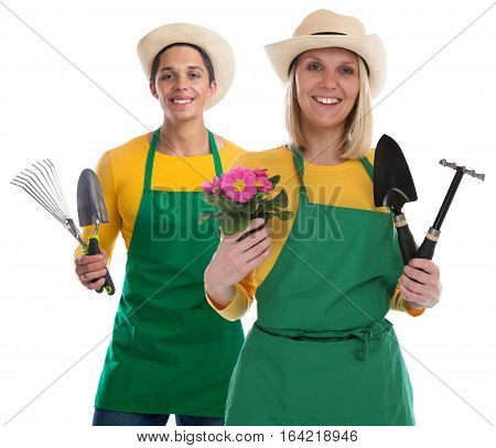 Gardener Gardner Team Flower Gardening Garden Tools Occupation Job Isolated