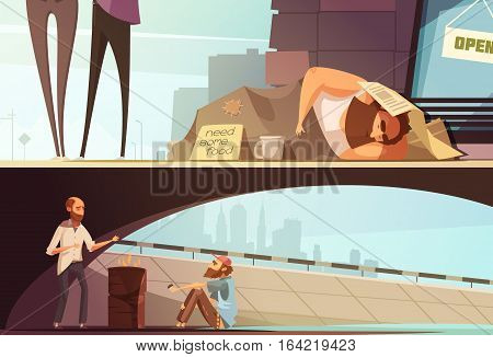 Homeless people banners with sleeping person at street and men getting warm under bridge isolated vector illustration