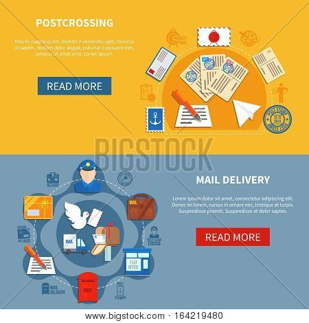 Postal communication colorful horizontal banners with postcrossing and mail delivery in flat style isolated vector illustration