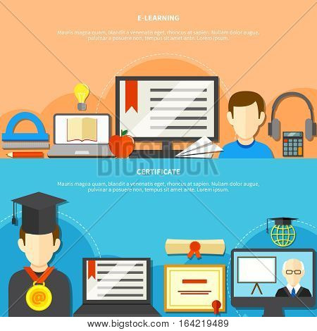 Two flat learning banner set with e learning and certificate descriptions and place for text vector illustration