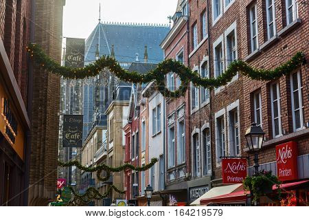 Christmas Decorated Shopping Street In Aachen, Germany