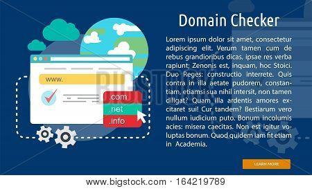 Domain Checker Conceptual Banner | Great flat illustration concept icon and use for Business, Creative Idea, Concept, Marketing and much more