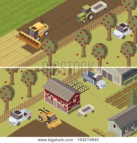 Ranch isometric horizontal banners with agricultural vehicles and farmlands apple trees and garden beds isolated vector illustration