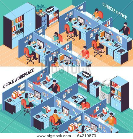 Two open space isometric horizontal banners with people working in office cubicles vector illustration