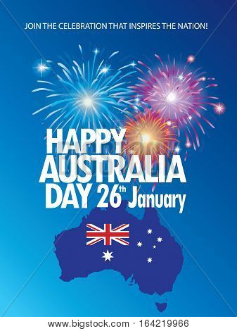 Happy Australia day 26 January poster. Map of Australia with flag and festive fireworks. Flat vector illustration.