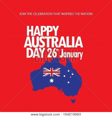 Happy Australia day 26 January inscription greeting card with Australian map and flag flag color on red background. Holiday poster design. Vector illustration.