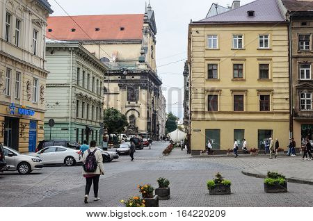 Lviv Ukraine - September 08 2016: Cathedral Square in historical center of Lviv
