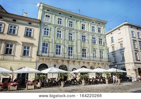 Lviv Ukraine - September 07 2016: Street cafe in the Market Square in center of Lviv