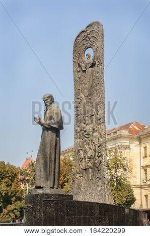 Monument to Ukrainian poet Taras Shevchenko on Freedom Avenue in Lviv Ukraine