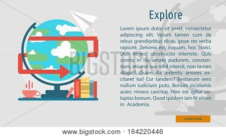 Explore Conceptual Banner | Great flat illustration concept icon and use for Business, Creative Idea, Concept, Marketing and much more