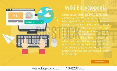 Wiki Encyclopedia Conceptual Banner | Great flat illustration concept icon and use for Business, Creative Idea, Concept, Marketing and much more