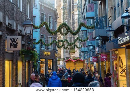 Shopping Street In The Old Town Of Aachen, Germany