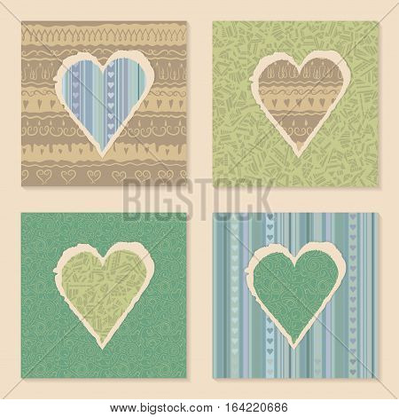 Vector set of vintage templates on Valentine's Day 14 February. Hearts of torn patterned festive paper. Seamless ornament in the background. Green blue beige pastel colors.