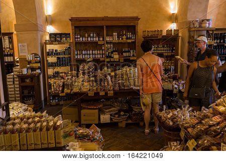 Delicatessen Shop In San Gimignano, Tuscany, Italy