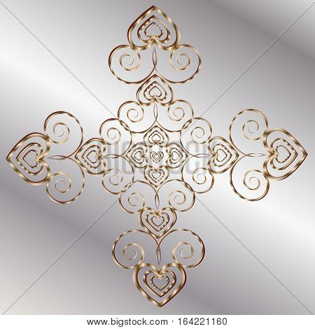Gold Mandala valentine Ornamental Metal gray background author design heart pattern style forged decoration delicate handmade logo vector illustration eps10 stock