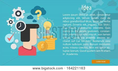 Idea Conceptual Banner | Great flat illustration concept icon and use for Business, Creative Idea, Concept, Marketing and much more