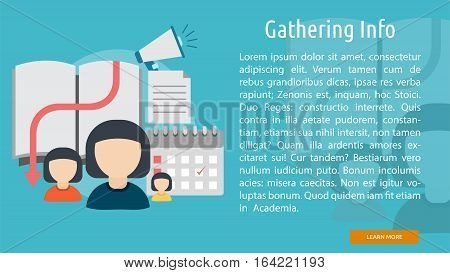 Gathering Info Conceptual Banner   Great flat illustration concept icon and use for Business, Creative Idea, Concept, Marketing and much more