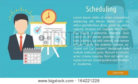 Scheduling Conceptual Banner | Great flat illustration concept icon and use for Business, Creative Idea, Concept, Marketing and much more