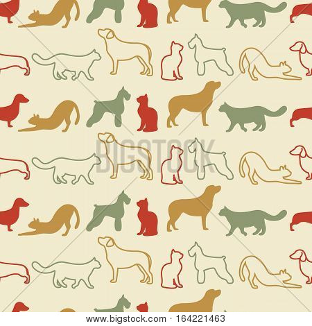 Animal seamless color vector pattern of cat and dog silhouettes